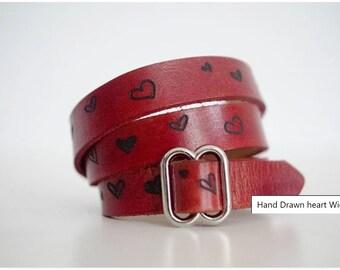 Hand Drawn heart Wide Wrap Bracelet