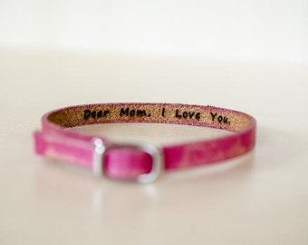 Dear Mom, I Love You.  -  Hidden Message Skinny Adjustable Leather Bracelet