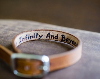 Secret Message Adjustable Cuff -  I Love You To Infinity and Beyond