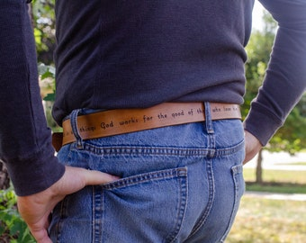Bible Belt -handmade leather belt engraved with your favorite bible verse