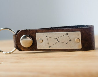 Orion Constellation Leather  Keychain Personalized Leather Key Chain Accessory, Anniversary Gift, Custom Keychain, Wedding Gift,