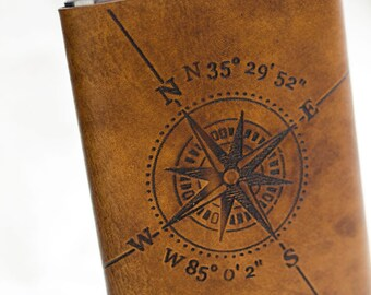 8oz Compass Rose Flask with Latitude and Longitude and a custom Date