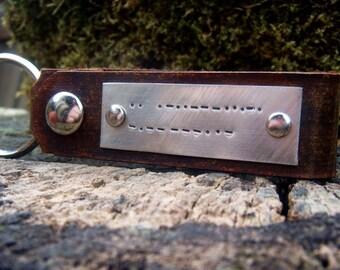Personalized Leather Key Chain Accessory, Anniversary Gift, Custom Keychain, Wedding Gift, I Love You Custom Morse Code Leather Keychain