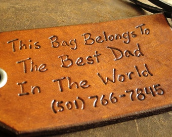 Travel Leather Luggage Tag, Custom Leather Tag, Personalized Luggage Tag, Best Dad in the World -  Hand Carved Leather Luggage Tag