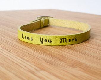 Love You More Custom Adjustable Leather Bracelet