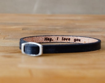 Hey I Love you- secret message Leather wrap Bracelet
