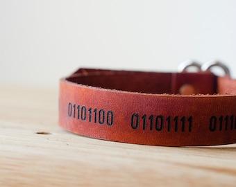 I Love You Binary Code Secret Message Leather Wide Wrap Bracelet with Custom Text
