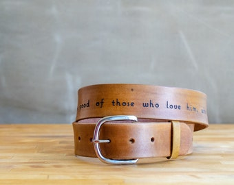 Bible Belt -leather belt with your favorite bible verse