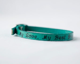 My Love, My Best Friend Skinny Adjustable Leather Bracelet