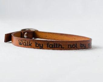 Walk by Faith, Not by Sight - Single Wrap Bracelet