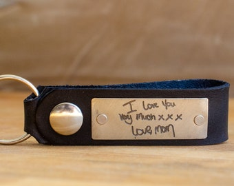 I love you very much  Custom Handwriting Leather Snap Keychain - Personalized Leather Key Chain