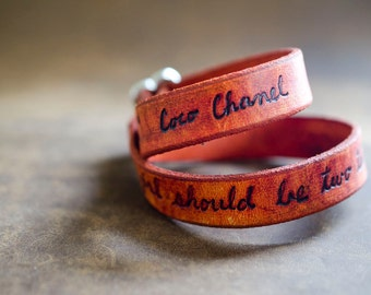 A Girl Should Be... Coco Chanel Quote on Double Wrap Leather Bracelet in Orange