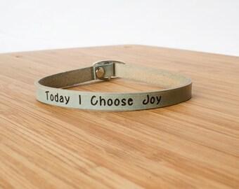 Today I Choose Joy Skinny Adjustable Leather Bracelet