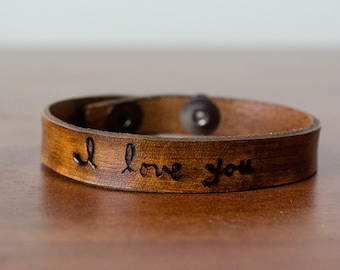 Handwritten I Love You Leather Cuff with Adjustable Snap Closure - Custom Leather Bracelet