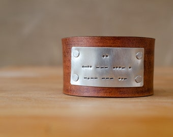 I love you in morse code Distressed leather cuff