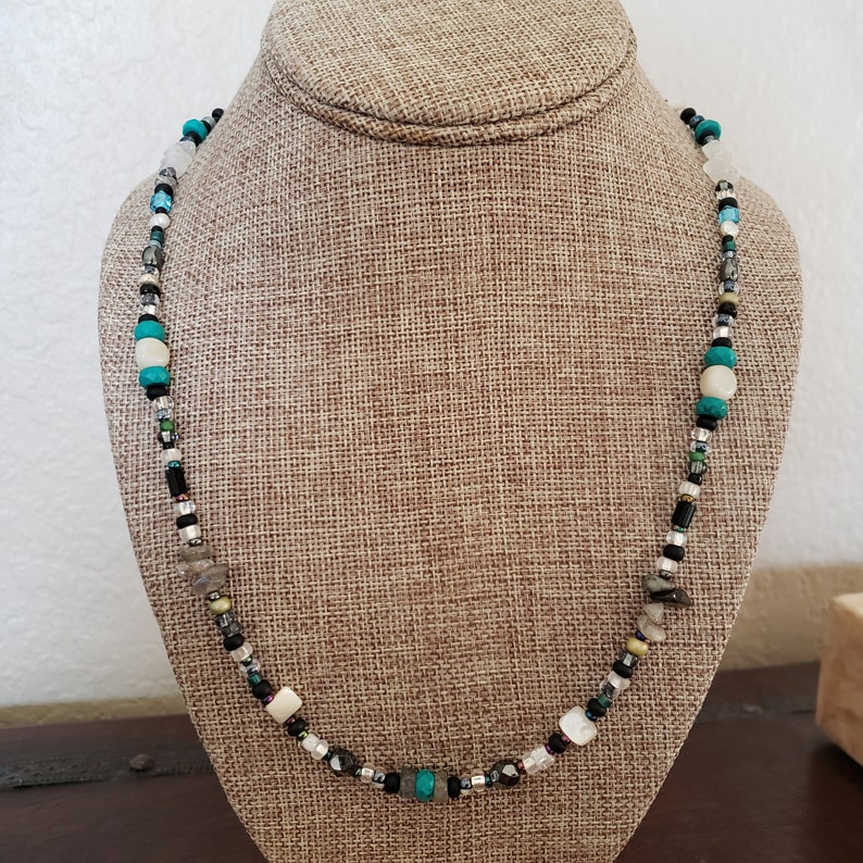 Turquoise Glass beads Stone Necklace Stone Necklace or Mask Holder Labradorite Chips SALE Versatile Design with Two Lobsters