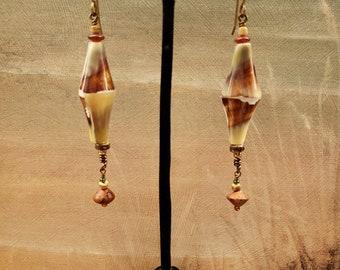 Long Shell Earrings, Unique Shell, Shape and Color, Long Shell Earrings, Aged Brass, Amber Horn, Wood, Seed Pod dangle, Czech seed bead