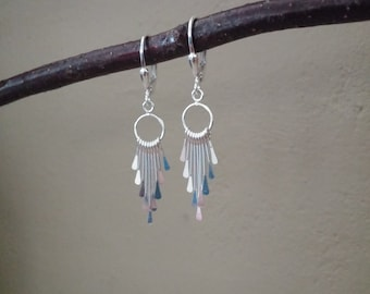 Sterling Earrings, Nine Sterling Graduated Drops, Secure Sterling Lever Backs, Minimalist, Traditional, Everyday