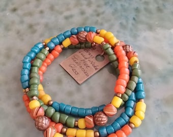 Boho Bracelet or Necklace, Bracelet Wraps Four Times, Colorful Indonesian Glass, Brass, Czech glass, strong Brass Magnet, Boho, Organic Look