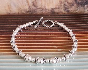 Sterling Silver Bracelet, Sundance Catalog Bracelet, Sterling Balls and Bali Sterling, Everyday, Minimalist, Sterling Toggle, Traditional