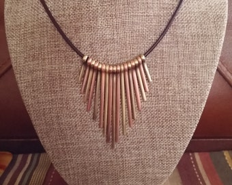 Cleopatra Necklace Style, on Leather or Rubber, Silver and Gold Plated Brass Cleopatra Necklace