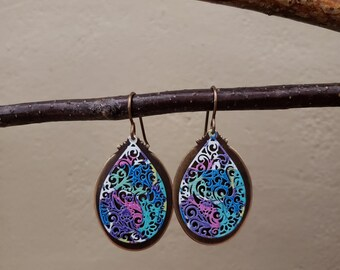 Hand Painted Earrings, Painted Filigree, Aged Brass, Hand Polished, Layered Earrings, Tear Drop Shape, Colorful, Unique, Eye Catching, Boho