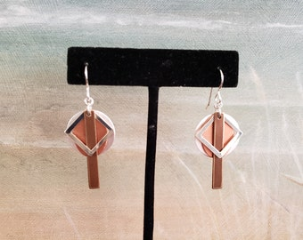 Contemporary Earrings, Modern Looking Earrings, Four Layered Earrings, Satin and Shiny Sterling, Copper, Aged Brass, Geometric