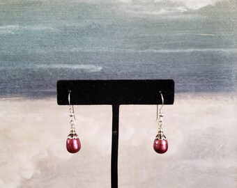 Cultured Pearl Earrings, Sterling Cultured Pearl Earrings, Fuschia Color, Tear Drop Shape, Great Luster, Quality, Traditional, Minimalist,