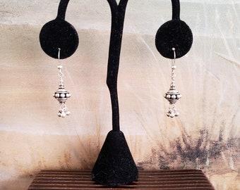 Sterling Earrings, Bali Sterling Earrings, Three Dimensional Bali Sputnik Shape, Three Solid Sterling Ball Dangles, Contemporary, Solid