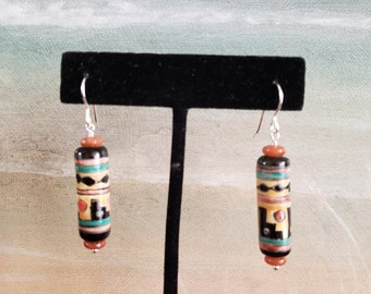 Ceramic Earrings, Hand Painted Ceramic Earrings, Pueblo, Southwest Design, Sterling Silver, Czech glass spacers, Unique Cylindrical Shape