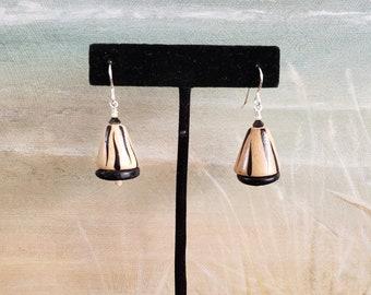 Wood Earrings, Wood and Bone Earrings, Sterling Silver, Triangle Shaped Wood bead, Painted Wood Bead, Modern Geometric Earring