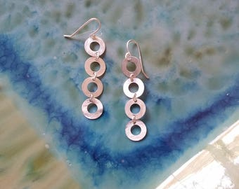 Sterling Silver Earrings, Circle EDarrings, Hand Textured, Vertical and Horizontal Pattern, Modern, Everyday, Sturdy yet Lighweight