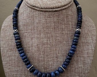 Dumortierite Necklace, Graduated Dumortierite rondelles, Gorgeous Natural Color, Sterling Toggle and Bali accents, Chunky Choker