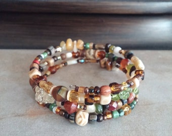 Stainless Memory Wire Bracelet, Natural Stones, Czech and Indonesian Glass, Mother of Pearl, Carved Bone, Shell, Wood, Boho Gypsy Look