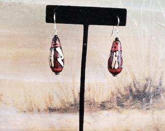 Wood Earrings, Hand Painted Earrings, Sterling Silver, Czech Glass bead, Black Onyx Stone, Unique Look, Boho, Tribal, Southwestern