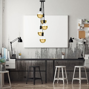 Modern Smoke Grey LED 7 Cluster Custom Any Colors Chandelier