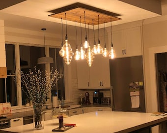 XL Unique Lamps Wood Chandelier - Kitchen Island Lighting - Custom Sizes and Finishes - LED - Reclaimed Wood or New