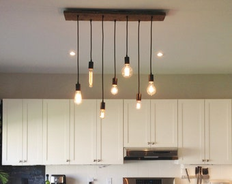 Hanging pendant lights and chandelier lighting by hangoutlighting 7 pendant wood chandelier kitchen island chandelier kitchen lighting hanging kitchen pendants design your own hangout lighting aloadofball Image collections