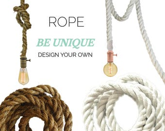 Rope Pendant Light- White Cotton Modern Industrial Manila Rope Rustic Pendant Lighting Hardwired or Plug In Light Industrial Farmhouse