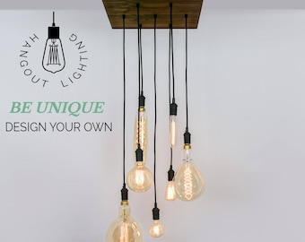 Hanging pendant lights and chandelier lighting by hangoutlighting custom 7 pendant wood chandelier x large edison bulbs industrial pendant light square chandelier wood hangout lighting aloadofball Image collections