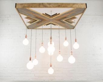 Wood chandelier etsy geometric wood art chandelier custom pendants reclaimed wood chandelier large modern chandelier hangout lighting modern led globe lights aloadofball Images