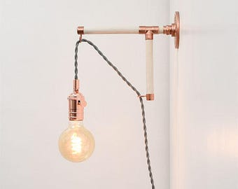 Custom Plug In Wall Sconce Modern Wood Industrial Pipe