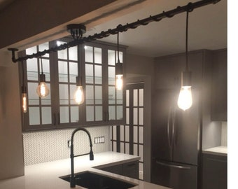 5 Pendant Light   Wrap A Pipe Or Bar Modern Chandelier   Industrial Pendant  Lamp   Kitchen Island Chandelier   Hangout Lighting Custom