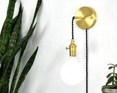 Plug in Adjustable Wall Sconce - Custom Finish - LED or Antique Bulbs - Bedroom Lighting - Bedside Lamp