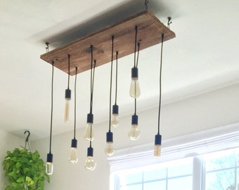 custom 7 pendant wood chandelier x large edison bulbs