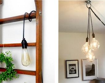 Custom Color Custom Length - Hardwired or Plug In Light Vintage Antique Cord Pendant Lighting - Hangout Lighting minimalist lamp