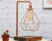 Copper Desk Lamp Wood Base  Diamond Cage Modern Industrial  Antique Edison Lamp Desk Light