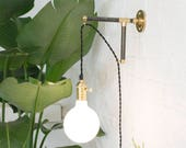 Custom Plug In Wall Sconce Modern Wood Industrial Pipe Brass Black White - Plug wall light fixture with switch LED White Glass Globe
