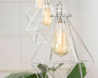 Custom Diamond Cage Hanging Pendant Lamp Modern Bedroom Light Fixture  Hardwired Or Plug In Geometric Chrome Shade Hanging Edison Light