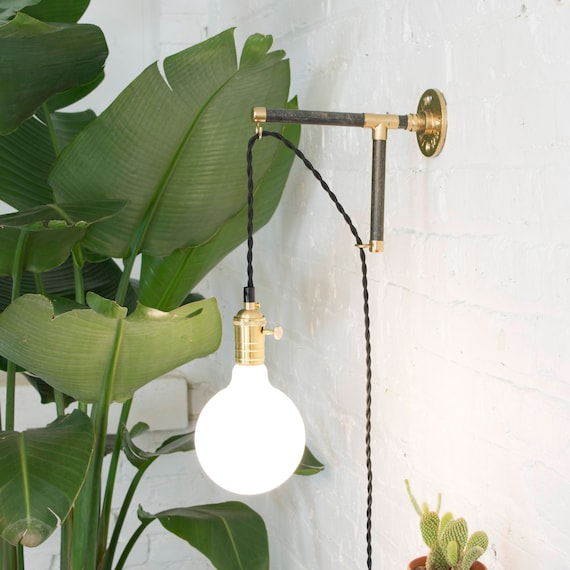 Custom plug in wall sconce modern wood industrial pipe brass etsy image 0 aloadofball Gallery